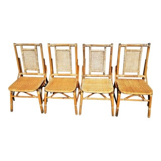Vintage Boho Chic Pagota Asian Chinoiserie Bamboo Wicker Rattan Dining Chairs - Set of 4 For Sale