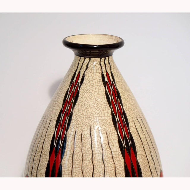 "Earthenware vase by Charles Catteau. Polychrome design with geometric patterns. See page 238 ""Art Deco Ceramics made in..."
