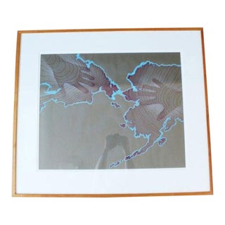 Contemporary Modern Framed Arctic Art 1987 Signed David Barr Silkscreen and Watercolor For Sale