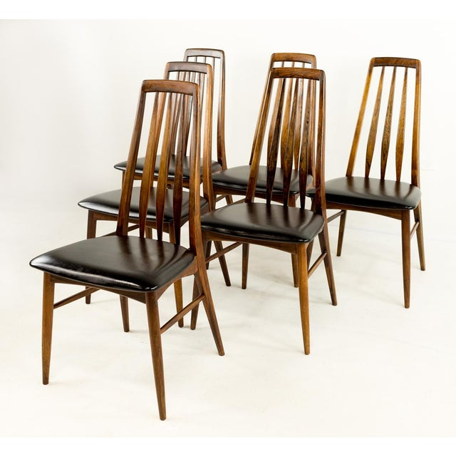 Set of 6 Niels Koefoed Hornslet rosewood Eva dining chairs. Made in the mid-20th century in the style of mid-century modern.