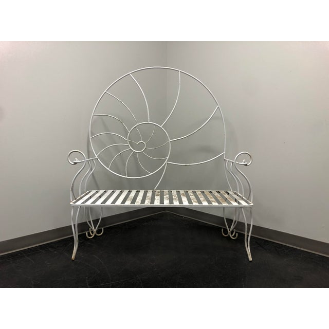 Art Nouveau Nautilus Shell Wrought Iron Outdoor Garden Bench For Sale - Image 11 of 11