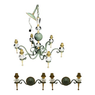 Vintage French Mid-Century Modern Chandelier & Matched Wall Sconces - Set of 3 For Sale