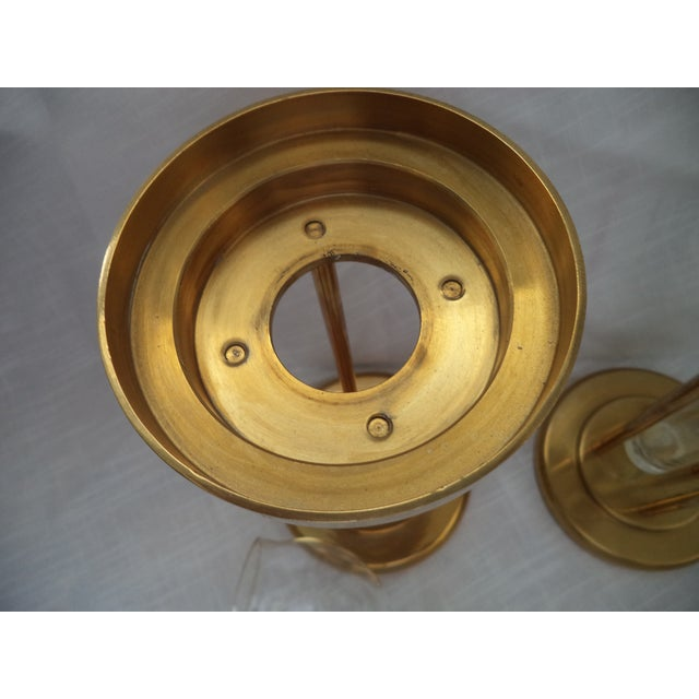 Mid 20th Century Vintage Mid-Century Brass and Glass Floating Candle Holders - a Pair For Sale - Image 5 of 10