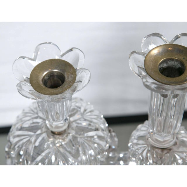 American Mid-Century Crystal Candleholders - a Pair For Sale - Image 3 of 9