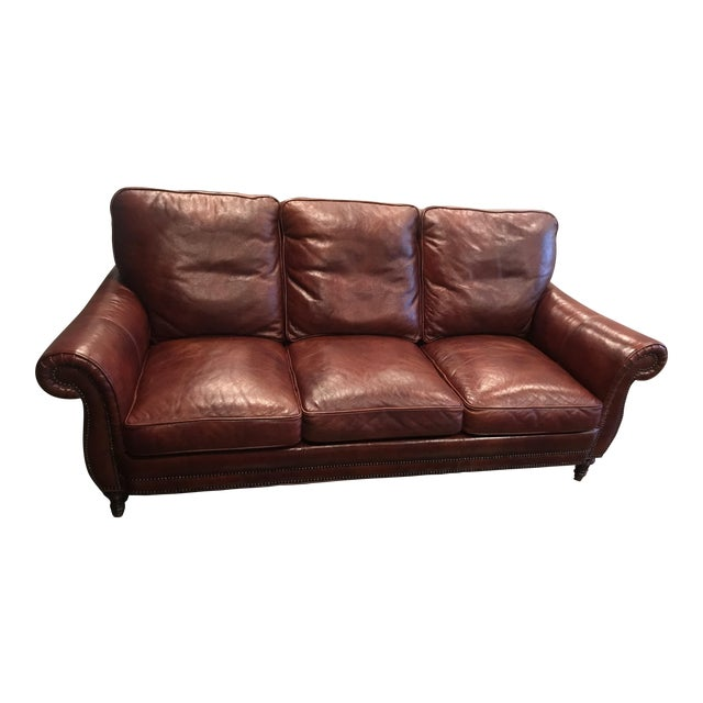 Traditional Style Whittemore Sherrill Cognac Leather Sofa
