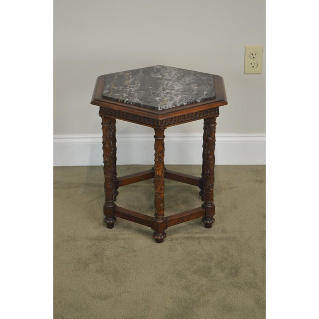 Brown Antique Italian Carved Walnut Hexagon Marble Top Taboret Side Table For Sale - Image 8 of 13