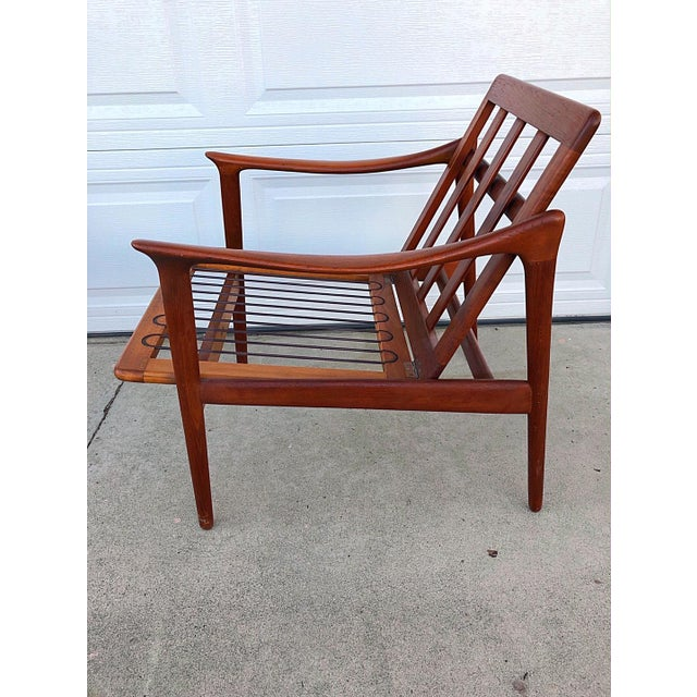 Blue Pair of Mid-Century Modern Easy Chairs in Teak and Wool For Sale - Image 8 of 9
