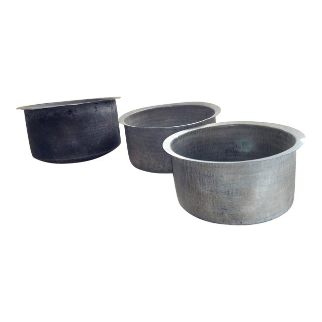 Antique Ceylonese Hammered Metal Copper Bottom Cauldrons - Set of 3 For Sale