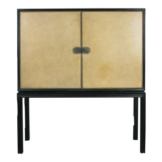 1940s Vintage Lacquered & Leather Chest by Tommi Parzinger For Sale