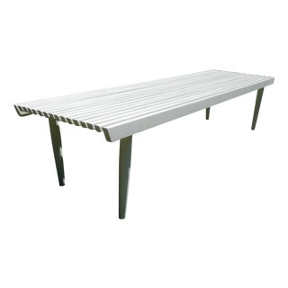 Vintage Mid Century White Slat Bench/Table