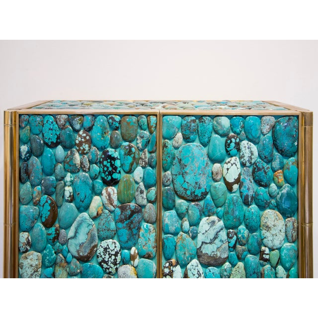 Brass Kam Tin - Turquoise Tall Cabinet Made of Real Turquoise Cabochons, France,2014 For Sale - Image 7 of 9