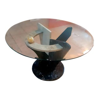 Late 20th Century Post Modern Memphis Style Marble Dining Table For Sale