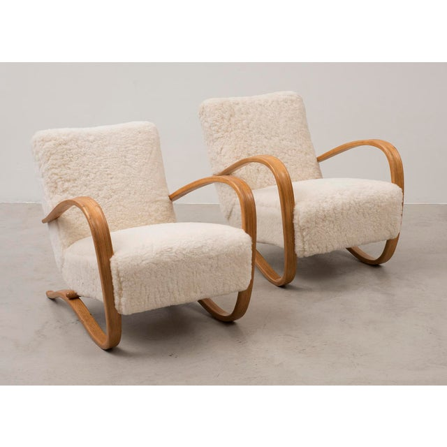 Jindrich Halabala Pair of Lounge Chairs Model H269 by Jindrich Halabala, Czechoslovakia, 1930s For Sale - Image 4 of 11