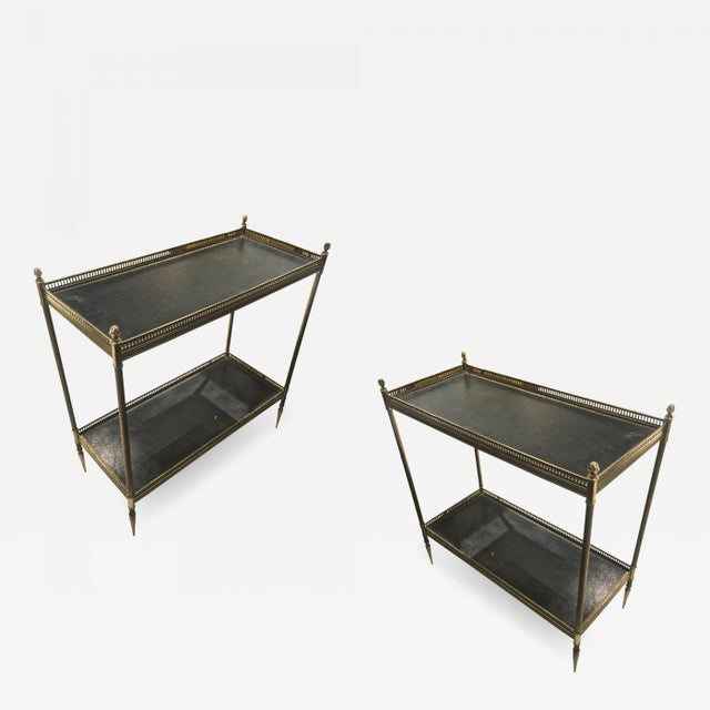 Gold Maison Jansen 1940s Pair of Two-Tier Side Table With Black Leather Patinated Top For Sale - Image 8 of 8