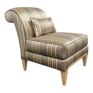 RJones Striped Silk Midtown Slipper Chair For Sale