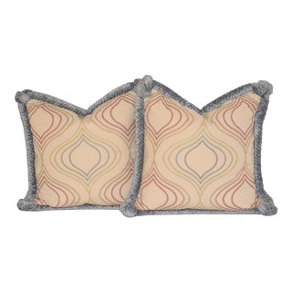 Embroidered Cotton and Chenille Pillows - A Pair For Sale
