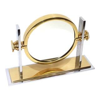 Karl Springer Vanity Mirror in Brass & Chrome For Sale