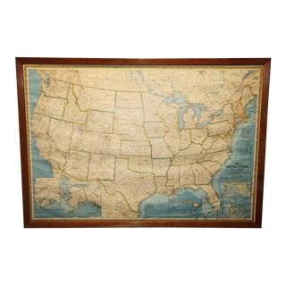 Framed United States Map For Sale