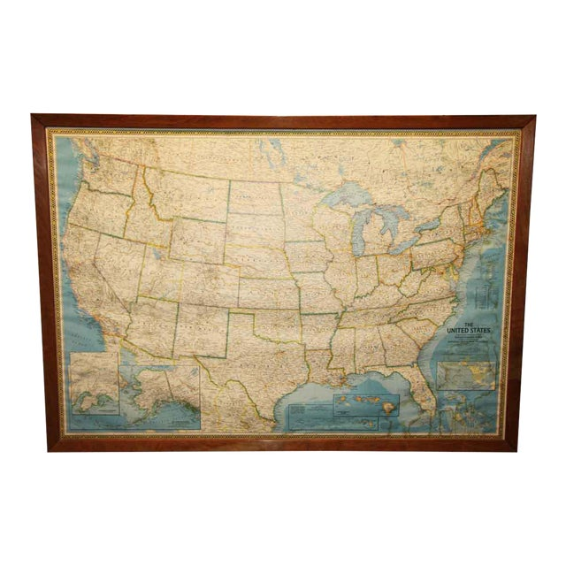 Framed United States Map   Chairish on