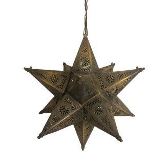 1970s Hand Crafted Copper Star Shape Syrian Lantern For Sale
