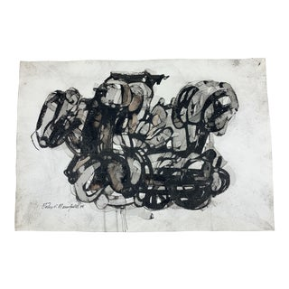 Original Signed and Dated Work of Abstract Art Ink and Watercolor on Paper by John P. Mansfield, C. 1975 For Sale