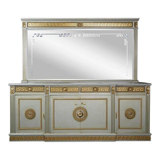 High Quality Greek Revival Versace Style Modernist Server With Mirror, Circa 1970 For Sale