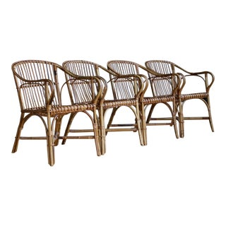 Franco Albini-Style Rattan Armchairs, Set of 4 For Sale