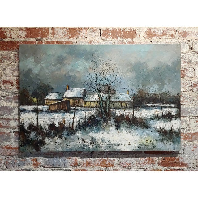 1970s Cottage Oil Painting, Winter Countryside Landscape by Aldo Luongo For Sale - Image 10 of 10