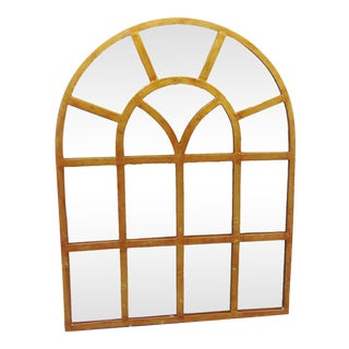 Late 20th Century Architectual Gilt Metal Window Style Mirror For Sale