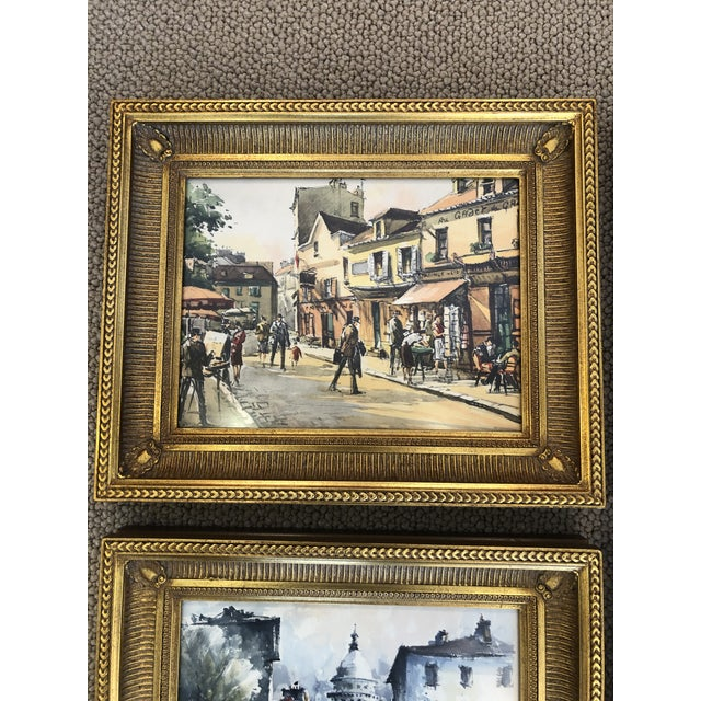 Wonderful set of 4 lively watercolors of Paris scenes, beautifully framed in giltwood moldings.