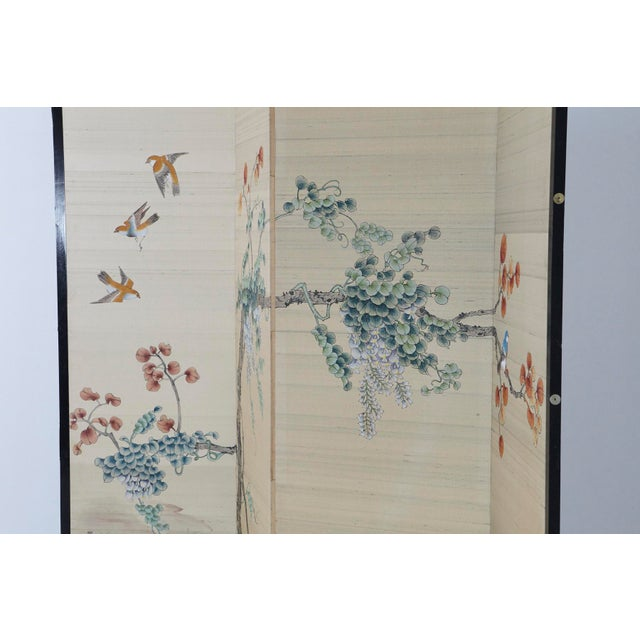 Metal Japanese Four-Panel Floor Silk Screen Landscape With Herons, Circa 1920s For Sale - Image 7 of 13