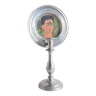 Vintage Frida Kahlo Folk Art Candle Holder For Sale