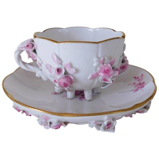 19th Century Victorian Meissen Porcelain Floral Teacup and Saucer