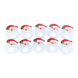 Wooden Santa Napkin Rings- Set of 10 For Sale