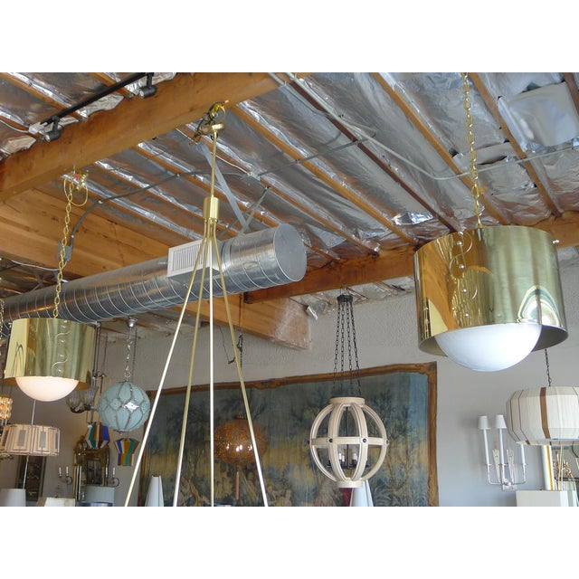 Mid-Century Pair of Brass Drum Shaded Pendants For Sale In Los Angeles - Image 6 of 6