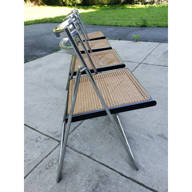 Mid Century Modern Chrome & Cane Folding Chairs- Set of 4 For Sale In New York - Image 6 of 13