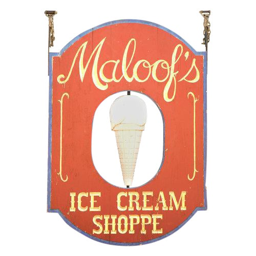 """Very Large """"Maloof's"""" Ice Cream Shop Sign For Sale"""