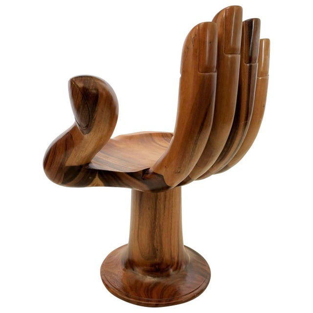 Brown Pedro Friedeberg Style Carved Hand Chair Sculpture For Sale - Image 8 of 8