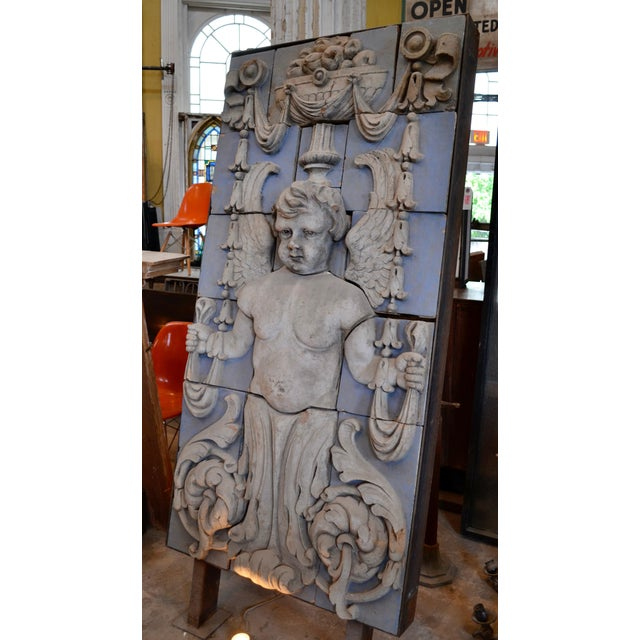 Late 19th Century Neoclassical Polychrome Terra Cotta Angel Panel For Sale - Image 5 of 10
