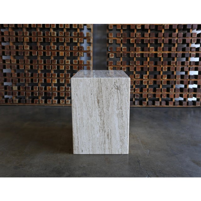 Travertine Pedestal or Side Table, Circa 1975 For Sale In Los Angeles - Image 6 of 12