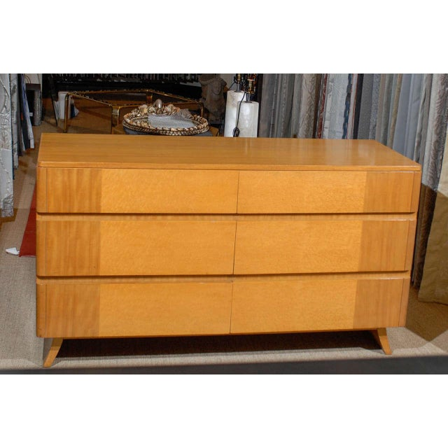 Gorgeous Rway Six-Drawer Chest in Blonde Mahogany and Bird's-Eye Maple For Sale - Image 10 of 11