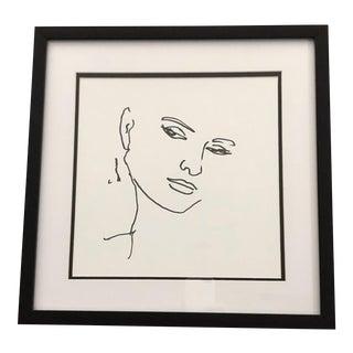 Black Ink Portrait Sketch For Sale