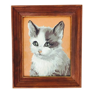 Vintage Paint by Numbers Cat Portrait