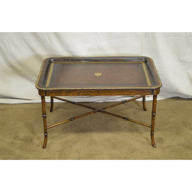 maitland smith hand painted faux bamboo leather top tray top coffee table for sale image - Leather Top Coffee Table