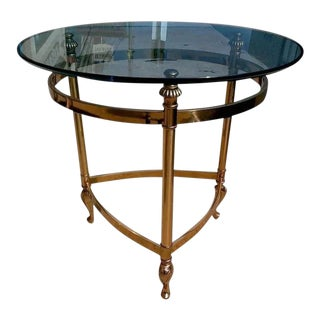 Italian Brass and Glass Round Side Table For Sale