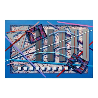 Contemporary Memphis Abstract Painting Canvas J. Ramsauer 1990s Vine Yard For Sale