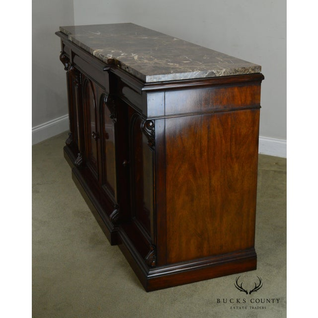 2010s Henredon Mahogany Empire Style Marble Top Sideboard For Sale - Image 5 of 13