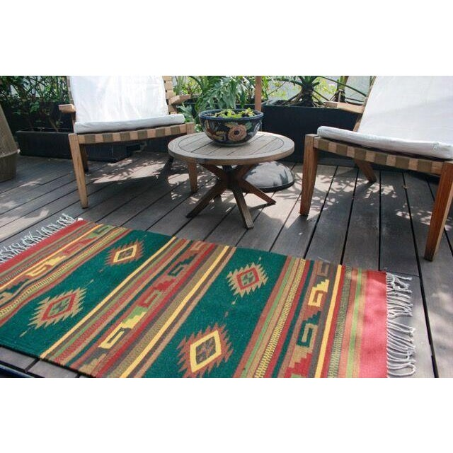 Mexican Pedal-Loom Green Rug - 2′7″ × 4′10″ For Sale In Los Angeles - Image 6 of 6