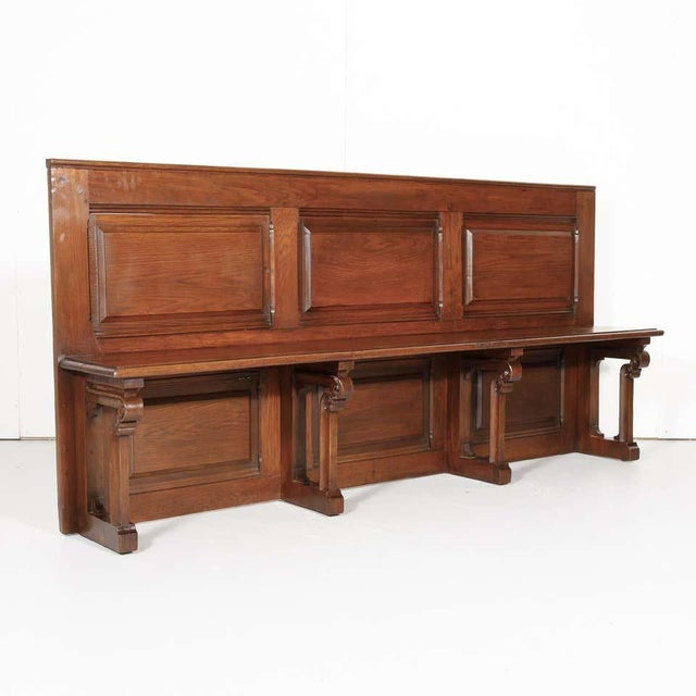 19th Century French Gothic Revival Period Church Pew or Hall Bench For Sale - Image 4 of 13