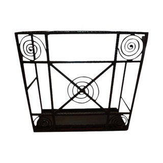 1930's Edgar Brandt Inspired French Art Deco Wrought Iron Umbrella Stand For Sale